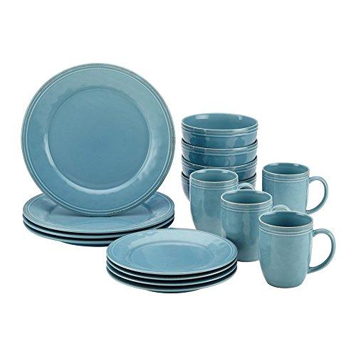 Rachael Ray 55093 Cucina Dinnerware 16-Piece Stoneware Dinnerware Set44; Agave Blue