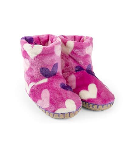 Hatley Girls' Little' Fuzzy Fleece Slouch Slippers, multi hearts, Medium (8-10 US Kids Shoe Size)]()