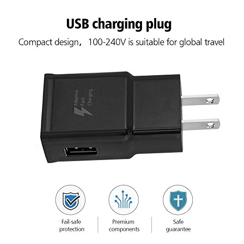 Dkaile Micro USB Android Cell Phone Adaptive Fast Charger for Samsung Galaxy S7/S7 Edge/S6/Edge/Edge+/Note 4/5, LG G2 G3 G4 (Black Wall Charger + 5FT Cable) by Dkaile (Image #5)