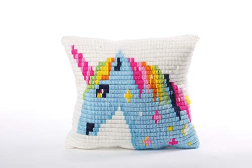 Sozo DIY Unicorn Design Needlepoint Kit for Beginners Cross Stitch Embroidery Kit for Kids Tapestry Pillow an Ideal Unicorn Gift Complete Kit Contains Everything You Need to Create a Unicorn Pillow