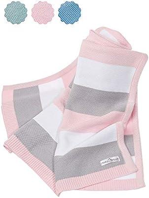 Manta de bebé hecha de 100% algodón orgánico - manta de punto ideal como manta de