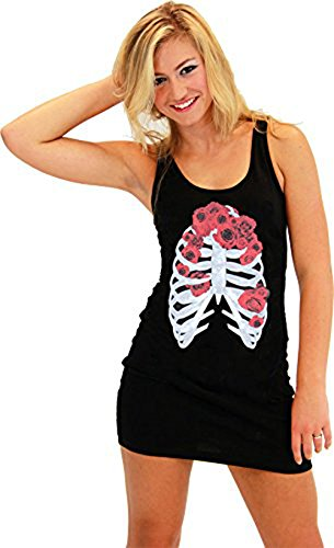 Skeleton Flower Juniors Costume Black Tank Dress (Medium)