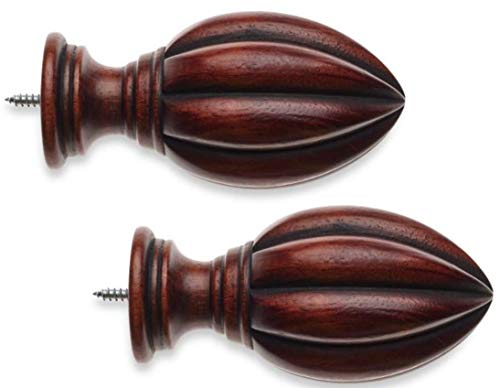 Finial Cambria Classic Wood Fluted in Cherry (Set of 2)