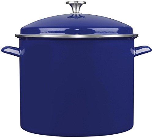 Cuisinart EOS166-30CBL Enamel Stockpot with Cover, 16-Quart, Cobalt Blue