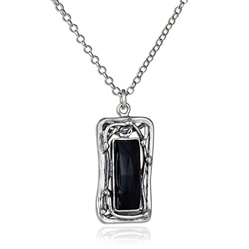 Retro Design Rectangle Black Onyx Gemstone Pendant 925 Sterling Silver Women's Necklace, 18