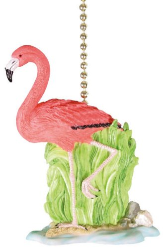 (Clementine Designs Tropical Pink Flamingo Tiki Decor Ceiling Fan or Light Pull)