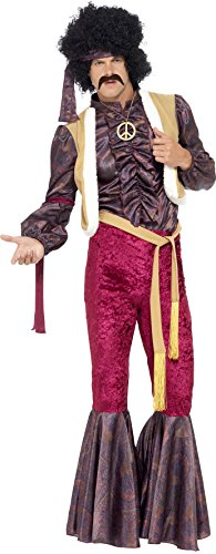 [Smiffy's Men's 70's Psychedelic Rocker Costume, flares, top with attached waistcoat and headpiece, 70 Disco, Serious Fun, Size M,] (Rocker Costume For Boys)