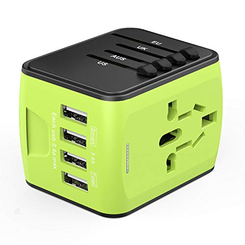 America Standard Adapter - Universal Travel Adapter, International Power Adapter 4 USB, Travel Plug Adapter US, EU, UK, AU 150+ Countries, All in One European Adapter iPhone, Android, All USB Devices-Green