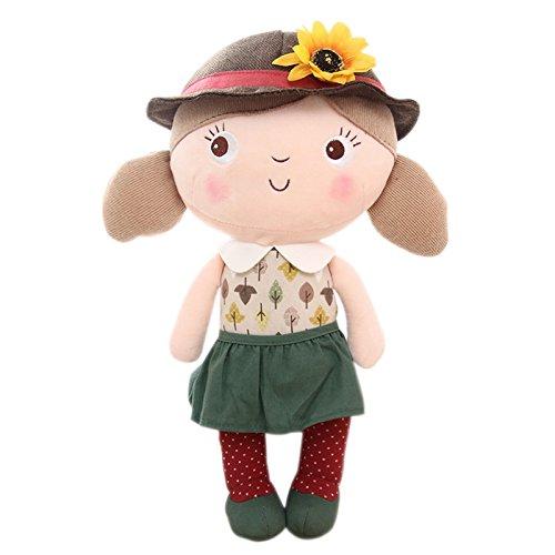 "Girls Dolls Plush Toys Cartoon Ragdoll Wearing Leaves Dress Gifts for Kids Girls 16"" (L) - By Gloveleya"