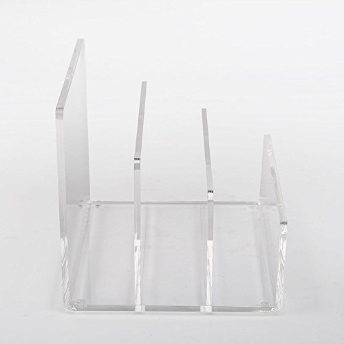 Acrylic Cast Paper - Crystal Clear Acrylic Desktop File Sorter Holder - Lucite Mail, Paper, File Folder Organizer – Eyeshadow, Makeup Palette and Electronics Organizer - Thick Cast Acrylic - Unum - 9