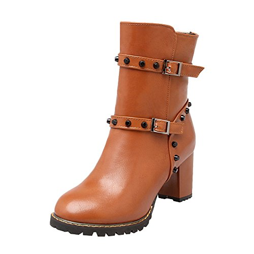 Charm Foot Women's Fashion Studded Chunky Heel Mid Calf Boots