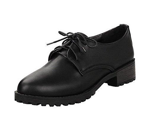 AllhqFashion Womens Closed-Toe Low-Heels PU Solid Lace-Up Pumps-Shoes Black ejpOVA