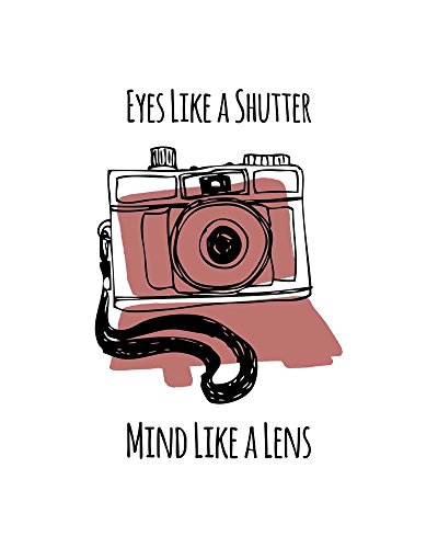 Eyes Like A Shutter Mind Like A Lens Camera Doodle Red by Color Me Happy Art Print, 18 x 22 inches