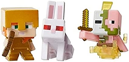 Minecraft Mini Figure 3-Pack Alex with Gold Armor Killer Rabbit Spawning Zombie