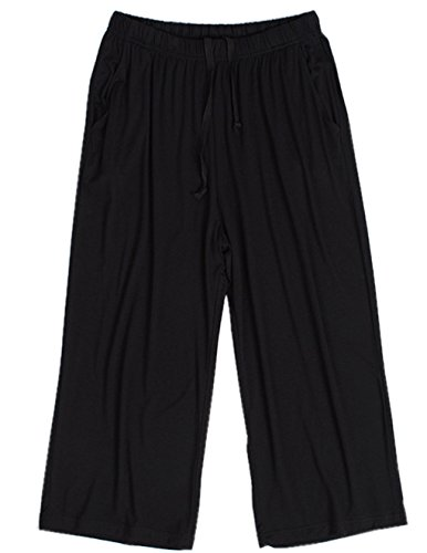 HONG HUI Women Pajama Capri Pants Soft Sleep Lounge Pants with Pockets Sleepwear ()