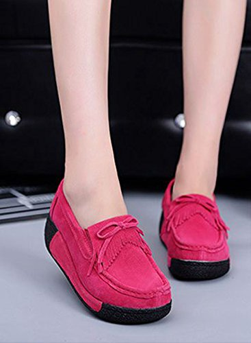 JRenok Mocassins Compensé Femme Loisir Printemps Chaussures Suede Gland Confort Plates Loafers Antidérapante 35-41 Rouge Yae0N