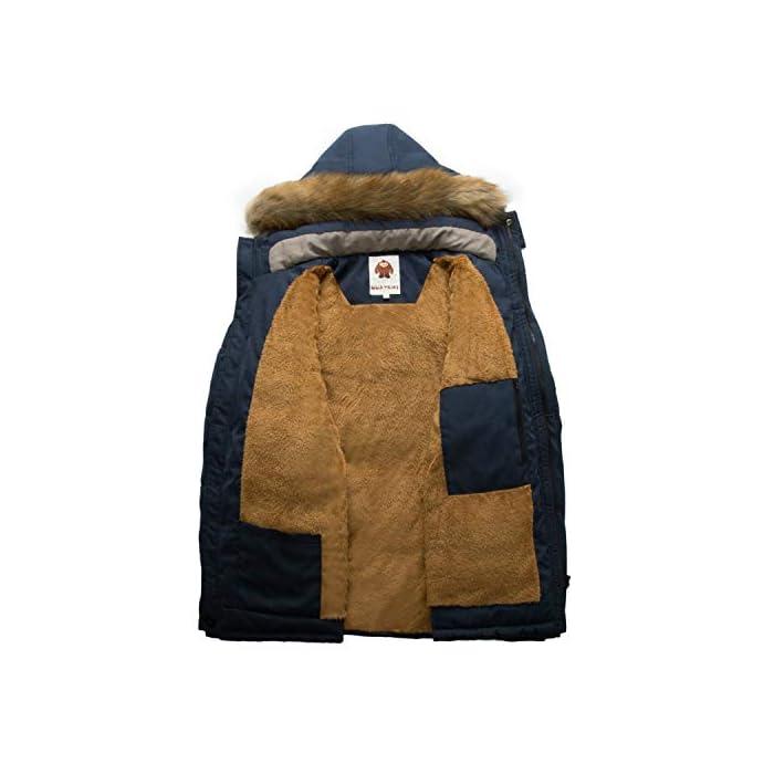 41joSmCysjL Esta chaqueta cálida está hecha de tela suave y tiene puños acanalados para un ajuste cómodo alrededor de la muñeca, contra el viento frío. Chaqueta parka con capucha hombre,Forro de lana y capucha desmontable. Material: 95% Poliéster + 5% Nylon