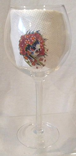 Beautiful Ghost Wine Glass, Ed Hardy Wine Glass, Skeleton and Flowers Wine Glass