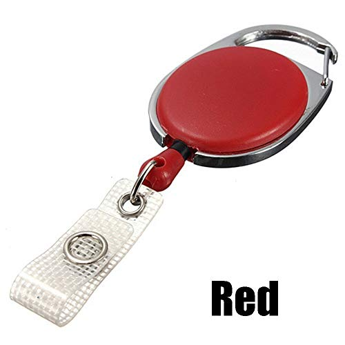 Steel Recoil Key Ring Belt Clip Retractable Keychain ID Card Badge Holder (Color - red)