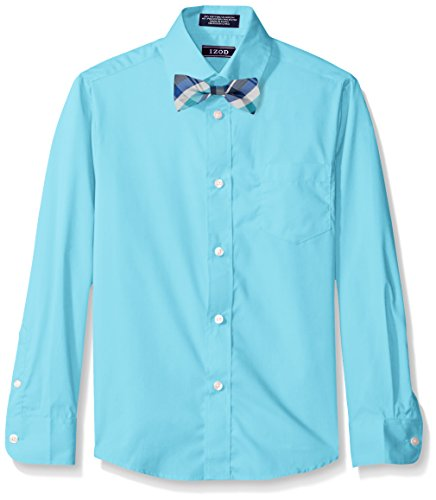 Izod Kids Big Boys' Long Sleeve Solid Broadcloth Packaged Shirt and Bow Tie Set, Medium Teal, 10R