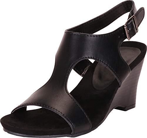 (Cambridge Select Women's Open Toe Side Cutout Slingback Wedge Sandal,8.5 B(M) US,Black PU)
