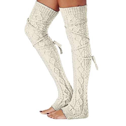 Womens Knitted Crochet Leg Warmers Boot Socks (Beige)