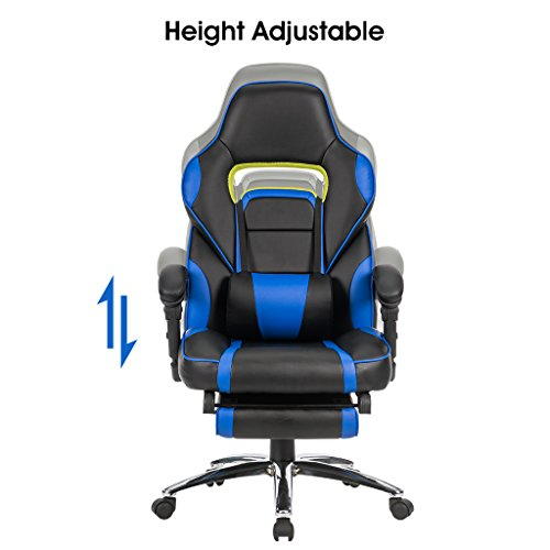 chair racing computer office chair with padded footrest lumbar support
