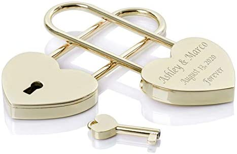 Heart Love Lock Gold Engraved with Desired Engraving Custom Text Padlock