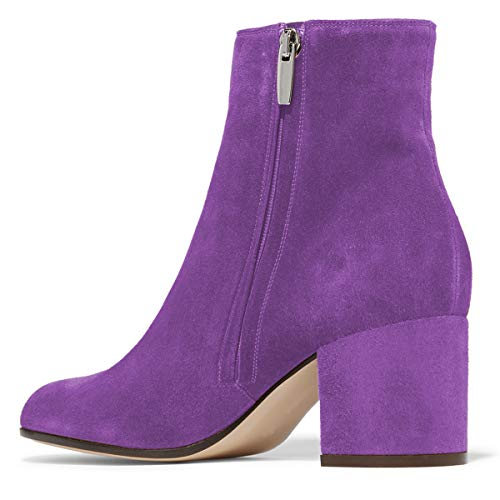 Toe Shoes Women YDN Low Booties Side Ankle Booots Round Heel Chic Purple Block with Zips nv81qdAxw8