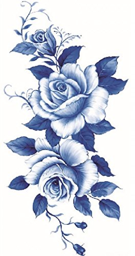 Beautiful dark blue and white roses temporary tattoos