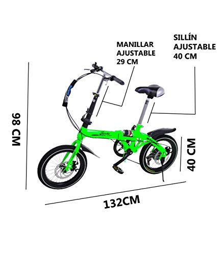 🥇 Riscko Super Bike Bicicleta Plegable Unisex de 16»