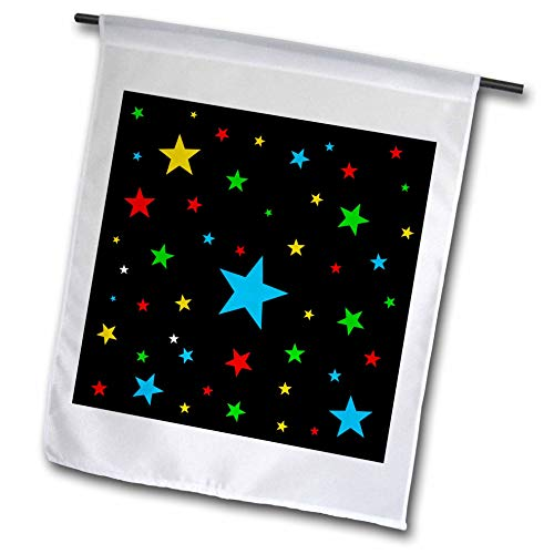 3dRose Alexis Design - America - Fifty Stars Of Freedom. Colorful stars against the black backdrop - 12 x 18 inch Garden Flag ()