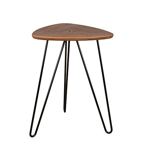 Glitzhome Modern Walnut Veneer Coffee Table with Hairpin Legs Living Room Side Table (Tables Square Nesting Iron)