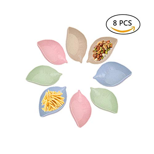 (8 pcs Multipurpose Small Seasoning Sauce Dishes,STAR-TOP Multicolor Leaf Shape Natural Degradation of Wheat Straw Dipping Dish Dinnerware Set - Saucer for Vinegar/Salad/Soy Sauce/Wasabi/Chili Oil)