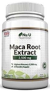 Raíz de Maca - 2500 mg - 180 Comprimidos (Suministro para 6 Meses) - Complemento alimenticio de Nu U Nutrition