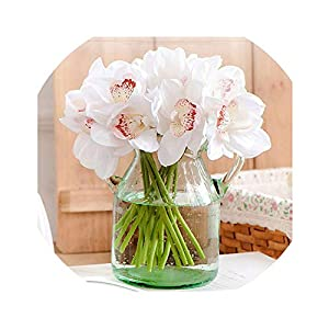 Get-in Real Touch cymbidium 7 Heads Short Shoot Table Decoration Flower DIY Wedding Bride Hand Flowers Home Decor Artificial Orchid 104