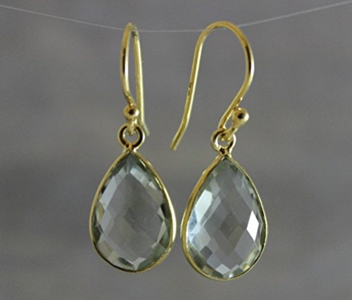 Green Amethyst Drop Gold Plated Sterling Silver Earrings