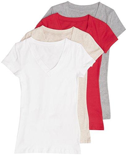 97cd56186 Galleon - 4 Pack Zenana Basic Plus Size V-Neck Short Sleeve Cotton T-Shirts  For Women 3X White, H Beige, Red, H Gray