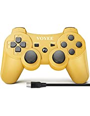 VOYEE Wireless Controller Gamepad with Upgraded Joystick Compatible with PS-3 Console(Gold)