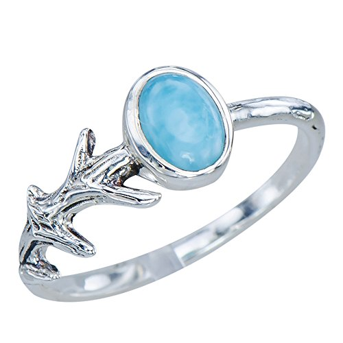 Decorative Womens Fig Tree Natural Larimar Gemstone 925 Sterling Silver Ring