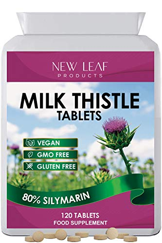 Milk Thistle 2000mg 80% Silymarin High Strength Liver Support One A Day Supports Liver Cleanse Detox Tablets not 1000mg Capsules Vegan, GMO-Free, Gluten-Free