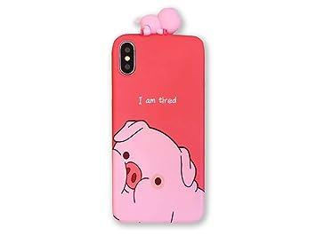 f46046ba51 iPhone8 iPhone7 iPhoneケース ブタフィギュア付き イラスト 赤 ピンク 豚 PIG 可愛い 耐衝撃 背面