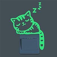 Glow in The Dark Cute Cartoon Cat Wall Button Stickers...