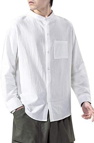 リネンシャツ メンズ 半袖 無地 麻 シャツ 立つ襟 ドロップショルダー ゆったり おしゃれ カジュアル 薄手 メンズシャツ 大きいサイズ