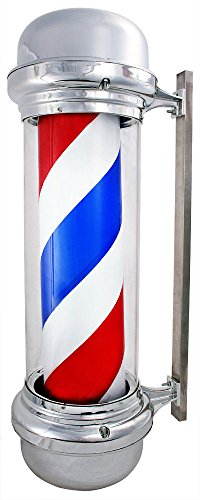 Led Sign Hair Shop Salon & Barber Light Pole Rotating Stripes Metal White Blue Red Animated - Malls Shopping In Ct