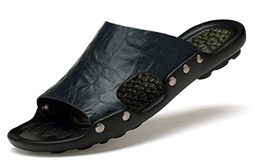 Ezkrwxn Summer Men Flat Leather Sandals House Shoes Slippers Blue Size 9.5 (6022 Blue 44)