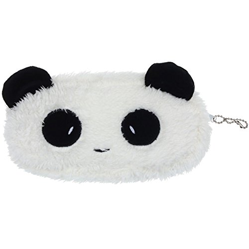Panda Pen Bag Pencil Case Cute Plush Cosmetic Makeup Bag Aobiny Coin Purse Wallet (Black & White)