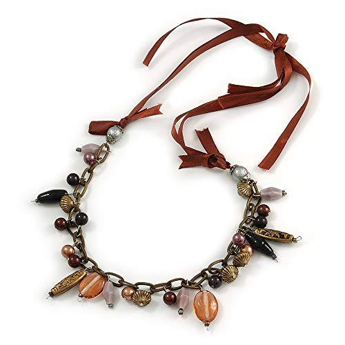 Avalaya Statement Ceramic, Glass, Acrylic Bead Bronze Tone Chain with Silk Cord Necklace (Brown/Black) - ()