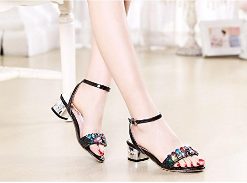Size Colour Shoes Summer Walking Women's BaiLing Sandals Fornido Women's Small Black Shoe Buckle Rhinestones qf70TZw