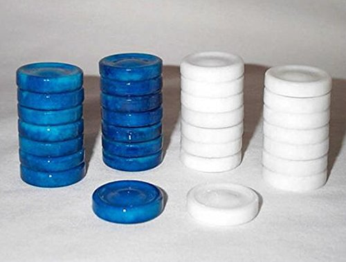 Quality Stone Backgammon Pieces, Replacement Backgammon Chips or Checkers - 1.25 Inch, Blue and White